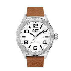 CAT CAMDEN series watch in steel & brown leather