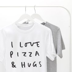 Pizza and Hugs Unisex T Shirt