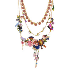 Bouquet Of Giverny's Garden Triple Row Couture Necklace