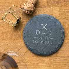 Personalised 'Tee Riffic' Golf Pun Slate Coaster