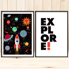 Space explorer art prints (set of 2)