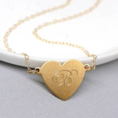 Personalised gold deart & initial necklace
