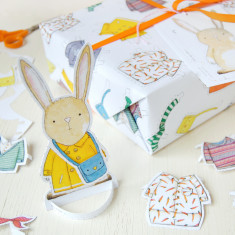 Dress Up A Rabbit Interactive Wrapping Paper