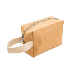Mini tote toiletry bag in camel