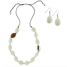 Atlantis Pod Necklace + Drop Earrings Set White