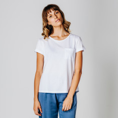 Org cotton rolled sleeve T-shirt