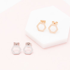 Harmonic hexagon studs in silver, gold or rose gold