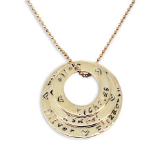 Personalised Circles of love stack 9ct gold necklace