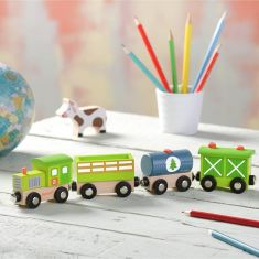 Wooden Farmyard Train Toy
