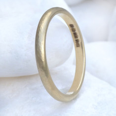 Slim Hammered Wedding Ring in 18ct Gold or Platinum