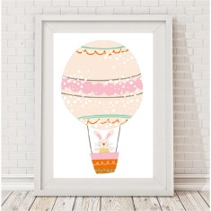 Hot air balloon bunny print