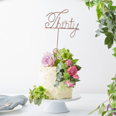 Wire Thirty Cake Topper