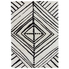 White/Ebony designer hand tufted wool & art silk rug