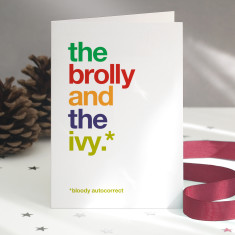 Funny Brolly autocorrect Christmas card