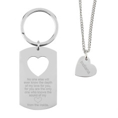 Mummy & daughter key ring and necklace set