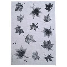 Black Leaves linen tea towel (natural or off-white)