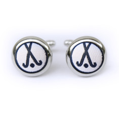 Hockey cufflinks in navy