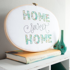 Home sweet home embroidery hoop artwork