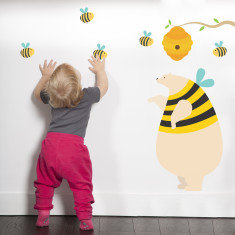 Honey bear and bees fabric wall sticker