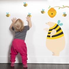 Honey bear and bees fabric wall sticker