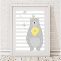 Honey bear nursery print (boy or girl)