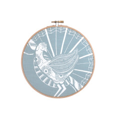 Screen printed Lyrebird framed in embroidery hoop (medium) in blue