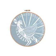 Screen printed Lyrebird framed in embroidery hoop (medium) in blue