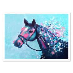 Horse with floral mane giclee art print