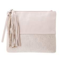 Lee in Cream Calf-Hair/Bone Leather Clutch