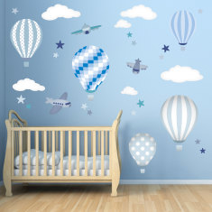 Hot air balloons and jets fabric wall stickers