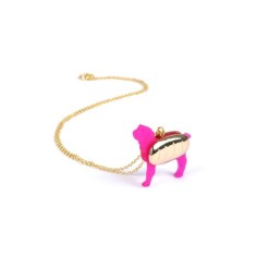 Pink hot dog necklace
