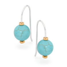 Sterling silver howlite ball earrings