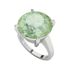 Round Brilliant Cut Green Amethyst White Gold Cocktail Ring