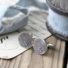 Inked Monogram Circle Fingerprint Cufflinks