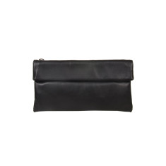 Small Leather Clutch Bag in Black