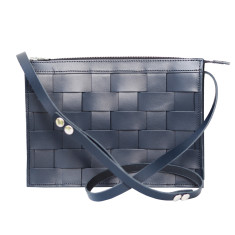 Leather Naver shoulder bag in Navy
