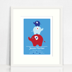 Boys personalised birth prints (elephants)