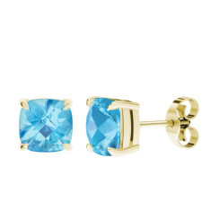Blue Topaz Cushion Checkerboard Yellow Gold Stud Earrings