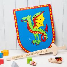 Personalised Wooden Dragon Shields And Sword Toy