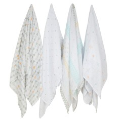 Weegoamigo This Way baby muslin swaddle (4 pack)