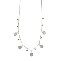 Urban stones extra long silver necklace with labradorite beads and silver discs