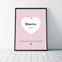 Heart Birth Details Wall Art Print
