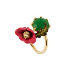 Pink flower and green stone Adjustable ring