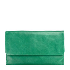 Audrey leather wallet in emerald