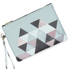 Geometric Triangle Print Vegan Leather Pouch Clutch Bag