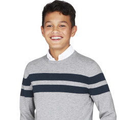 Boys Grey & Navy Striped Crew Neck Jumper