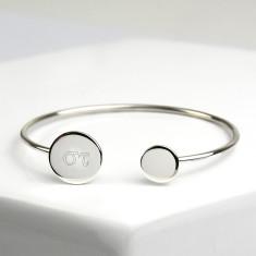Greek Monogram Sterling Silver Bangle Bracelet