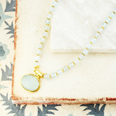 Lottie Pendant Necklace With Aqua Chalcedony