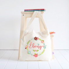 Pretty wreath personalised library bag