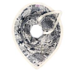 Smooth cotton scarf with flamingo, bird and cactus design
